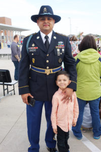 Eliseo Recheverri (5) and his hero (dad), Army Infantryman Jairo Recheverri at Carver Elementary Nov 11
